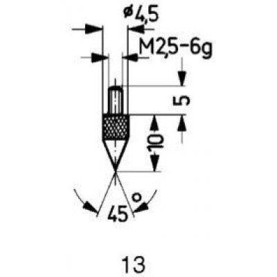 Meracie snímač oceľ typ 13/45 ° Käfer