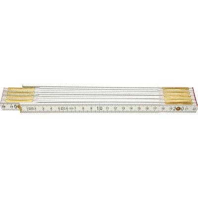 Skladací meter drevený biely 2mx16mm