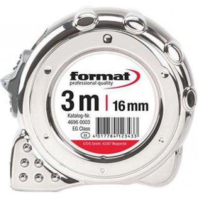 Vreckový zvinovací meter pochrómovaniu 3mx16mm FORMAT