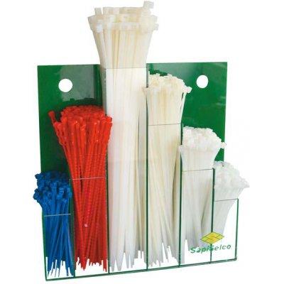 Sada viazacie pásky na káble, nylon, nástenný displej, 600 ks. SapiSelco