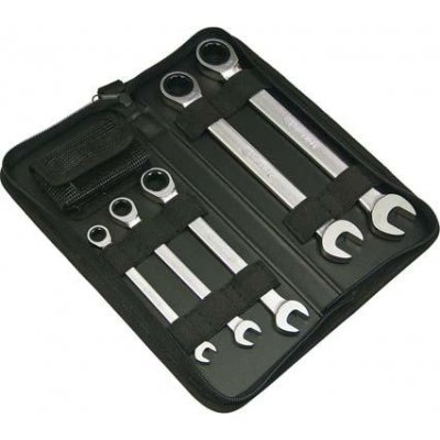 Otevřený a očkový ráčnový klíč, sada 9 ks 8, 10, 13, 17, 19 mm + 4 adaptéry FORMAT