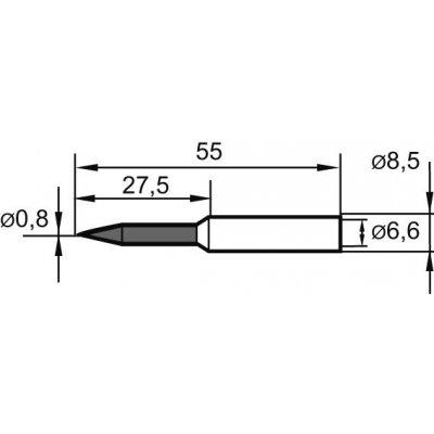 Letovací hrot, špička ceruzky predĺžený 0832BDLF 1mm Ersa