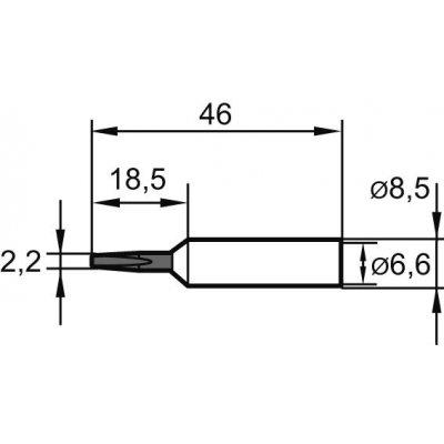 Letovací hrot, dlátový predĺžený 0832KDLF 2,2mm Ersa