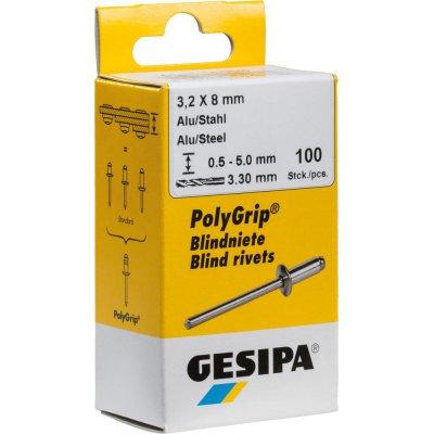 Slepý nit hliník / oceľ plochá guľatá hlava, mini balenie, 3x8mm a 100 ks. GESIPA
