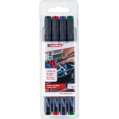 Sada značkovače káblov edding 8407 čierna, červená, modrá, zelená edding