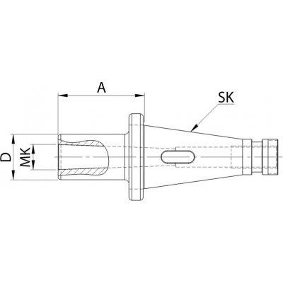 Nástavné puzdro DIN2080 tvar D SK40 / MK2 FORTIS