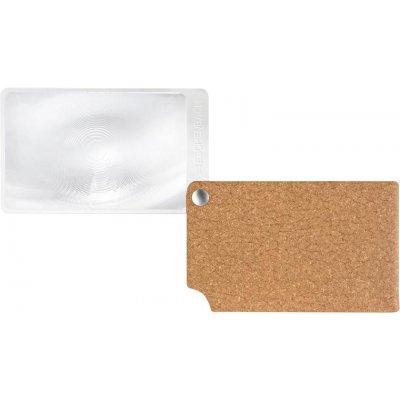 Lupa veľkosť kreditnej karty, hnedá visoPOCKET 2,5x koža ESCHENBACH
