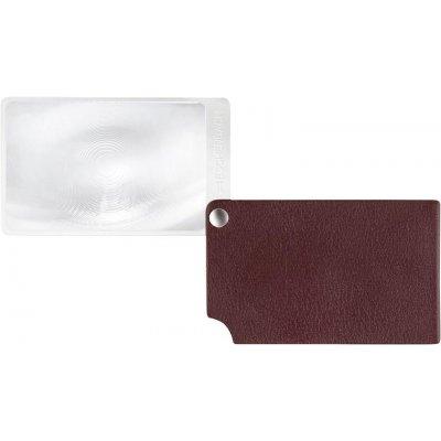 Lupa veľkosť kreditnej karty, červená visoPOCKET 2,5x koža ESCHENBACH